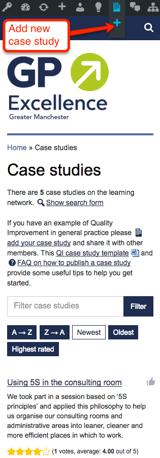 Add new case study link on a mobile or tablet device
