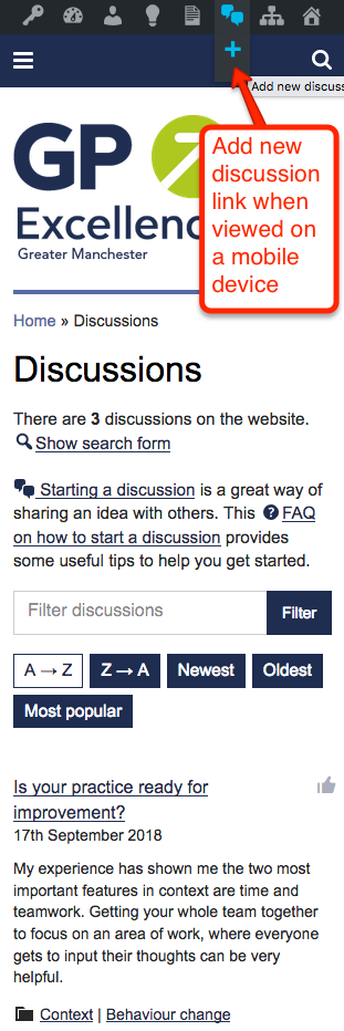 Add new discussion link on a mobile or tablet device