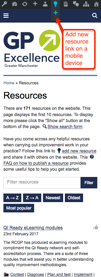 Add new resource link on a mobile or tablet device