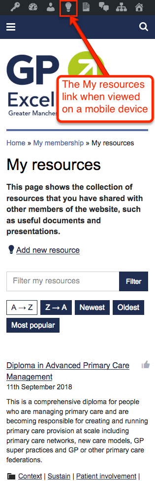 My resources page with My resources link highlighted