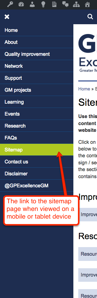 The link to the sitemap on a mobile or tablet device